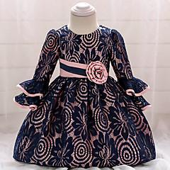 billige Babykjoler-Baby Pige Vintage I-byen-tøj / Fødselsdag Ensfarvet 3/4-ærmer Knælang Bomuld / Polyester Kjole Navyblå 80