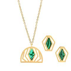 baratos Conjuntos de Bijuteria-Mulheres Tanzanita Conjunto de jóias - Luxo, Fashion Incluir Brincos Curtos / Colares com Pendentes Verde Para Casamento / Encontro