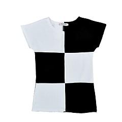 baratos Roupas de Meninas-Bébé Para Meninas Preto & Branco Quadriculada Manga Curta Vestido
