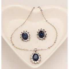 baratos Conjuntos de Bijuteria-Mulheres Sapphire sintético Conjunto de jóias - Floco de Neve senhoras, Clássico, Fashion Incluir Brincos Curtos Colar Azul Escuro Para Diário Formal