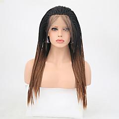 billiga Peruker och hårförlängning-Syntetiska snörning framifrån Matt Fläta Syntetiskt hår Värmetåligt Guld Peruk Dam Lång Spetsfront
