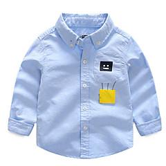 billige Overdele til drenge-Børn Drenge Aktiv Daglig Patchwork Patchwork Langærmet Normal Bomuld Skjorte Blå