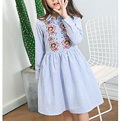 baratos Roupas de Meninas-Infantil Para Meninas Sólido / Floral / Estampa Colorida Manga Longa Vestido