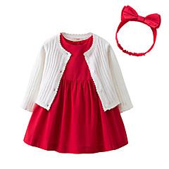 billige Sett med babyklær-Baby Pige Aktiv Jul / I-byen-tøj Ensfarvet Uden ærmer Normal Bomuld Tøjsæt Hvid