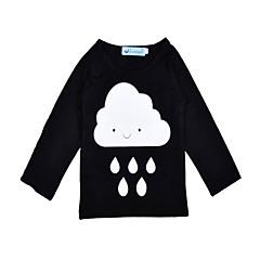 billige Babyoverdele-Baby Pige Aktiv / Basale Sport Sort og hvid Trykt mønster Langærmet Bomuld T-shirt
