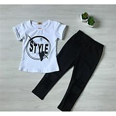 billige Tøjsæt til piger-Baby Pige Trykt mønster Kortærmet Tøjsæt