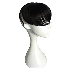 cheap Wigs & Hair Pieces-Men's Synthetic Hair Toupees Synthetic Fiber Wig Clip In Men Wig Capless Toupees Straight Toupee Fringe Black Wigs