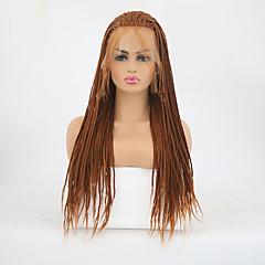 billiga Peruker och hårförlängning-Syntetiska snörning framifrån Matt Fläta Syntetiskt hår Värmetåligt / Flätad peruk Brun Peruk Dam Lång Spetsfront