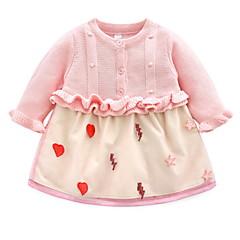 billige Babykjoler-Baby Pige Aktiv Trykt mønster Langærmet Polyester Kjole Lyserød 110