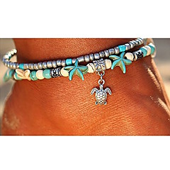 cheap Women's Jewelry-Turquoise Layered Ankle Bracelet - Turtle, Starfish Bohemian, Ethnic, Fashion Silver For Going out / Beach / Bikini / Women's