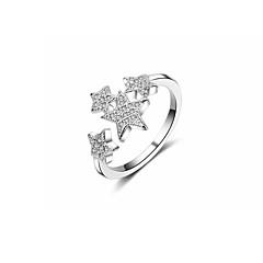 billige Motering-Dame Kubisk Zirkonium Kryss-krop Band Ring - Kobber Stjerne Koreansk Justerbar Sølv Til Gave Valentine