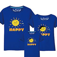 billige Sett med familieklær-Barn Familie Look Aktiv / Grunnleggende Ensfarget / Bokstaver Trykt mønster Kortermet Bomull T-skjorte