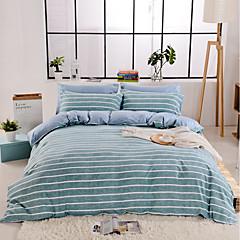 billige Hjemmetekstiler-Sengesett Striper / Foldet Polyester Trykket 4 delerBedding Sets / 400 / 4stk (1 Dynebetræk, 1 Lagen, 2 Pudebetræk)