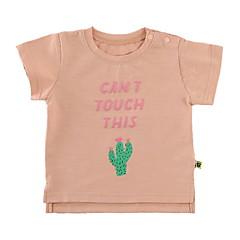 billige Babyoverdele-Baby Pige Basale Trykt mønster Kortærmet Polyester T-shirt Lyserød