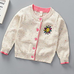 billige Sweaters og cardigans til piger-Børn Pige Basale Ensfarvet Langærmet Polyester Trøje og cardigan Blå