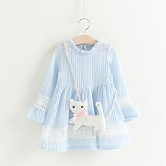 baratos Roupas de Meninas-Infantil / Bébé Para Meninas Sólido Manga Longa Vestido