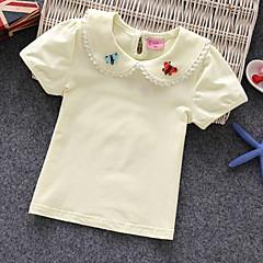billige Pigetoppe-Baby Pige Ensfarvet / Blomstret Kortærmet T-shirt