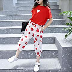 billige Tøjsæt til piger-Børn Pige Trykt mønster Kortærmet Tøjsæt