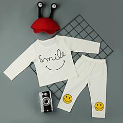 billige Sett med babyklær-Baby Pige Aktiv / Basale I-byen-tøj Ensfarvet / Trykt mønster Langærmet Lang Bomuld Tøjsæt