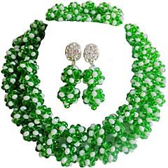 baratos Conjuntos de Bijuteria-Mulheres Camadas Conjunto de jóias - Cristal Austríaco MOON Fashion Incluir Strands Necklace Verde / Azul / Rosa Para Casamento