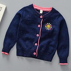 billige Sweaters og cardigans til piger-Børn Pige Basale Ensfarvet Langærmet Polyester Trøje og cardigan Blå 100