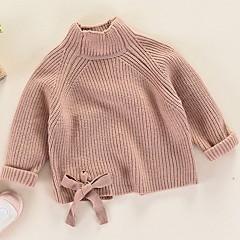 billige Sweaters og cardigans til piger-Børn Pige Basale Ensfarvet Langærmet Polyester Trøje og cardigan Lyserød