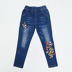billige Bukser og leggings til piger-Børn Pige Basale Blomstret Broderi Bomuld Bukser