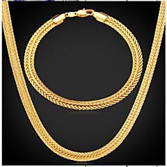 baratos Conjuntos de Bijuteria-Homens Fashion Conjunto de jóias - Chapeado Dourado Pneu Fashion Incluir Colar vintage Dourado Para Diário Festa de Noite