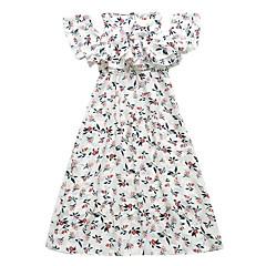 economico Abbigliamento per bambine-Bambino Da ragazza Moda città Fantasia floreale Manica corta Medio Vestito Bianco