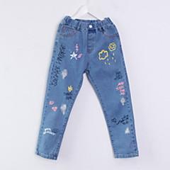 billige Jeans til piger-Børn Pige Basale Trykt mønster Trykt mønster Bomuld Jeans