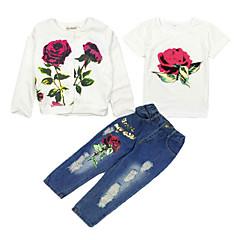 billige Tøjsæt til piger-Børn Pige Blomstret Kortærmet / Langærmet Tøjsæt