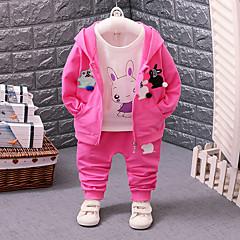 billige Babytøj-Baby Pige Sort & Rød / Rabbit Regnbue Langærmet Tøjsæt