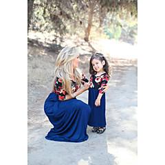 voordelige Gezinskledingsets-Mama en ik Standaard Dagelijks Bloemen Korte mouw Polyester Jurk Marineblauw