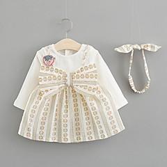 economico Abbigliamento per neonati-Bambino Da ragazza Moda città Con stampe Manica lunga Cotone Vestito Beige / Bambino (1-4 anni)