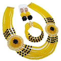 baratos Conjuntos de Bijuteria-Mulheres Camadas Conjunto de jóias - MOON Fashion Incluir Strands Necklace Verde / Rosa / Champanhe Para Casamento
