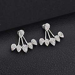 cheap -Women's Cubic Zirconia Stud Earrings / Front Back Earrings / Ear Jacket - Teardrop Fashion, Euramerican Gold / Silver For Party / Daily