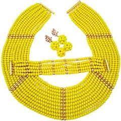 baratos Conjuntos de Bijuteria-Mulheres Camadas Conjunto de jóias - Cristal Austríaco MOON Fashion Incluir Strands Necklace Vermelho / Verde / Champanhe Para Casamento