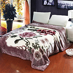 cheap Blankets & Throws-Bed Blankets, Floral Cotton / Polyester Thicken Blankets