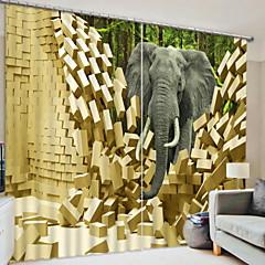 お買い得  窓回り-遮光 3Dカーテン 2 *(W110cm×L180cm) イエロー / ベッドルーム