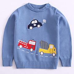 billige Sweaters og cardigans til drenge-Børn Drenge Basale Daglig Trykt mønster Trykt mønster Langærmet Normal Bomuld / Akryl Trøje og cardigan Blå