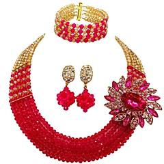 baratos Conjuntos de Bijuteria-Mulheres Camadas Conjunto de jóias - Cristal Austríaco MOON Fashion Incluir Strands Necklace Vermelho / Verde / Rosa Para Casamento