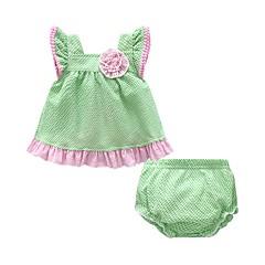 billige Sett med babyklær-Baby Pige Houndstooth mønster Kortærmet Tøjsæt