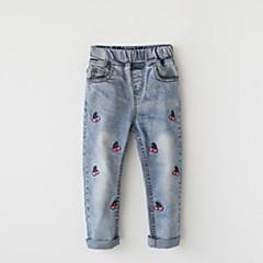 billige Jeans til piger-Børn Pige Aktiv Frugt Broderi Bomuld Jeans