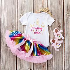 billige Babytøj-Baby Pige Ensfarvet / Trykt mønster / Patchwork Kortærmet Tøjsæt