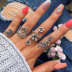 billige Motering-Dame Vintage Stil Håndledd Ring Ring Set - Legering Blad Formet, Blomst Vintage, Bohemsk Sølv Til Daglig Gate / 4stk
