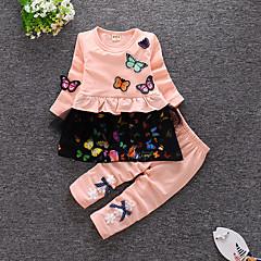 billige Sett med babyklær-Baby Pige Afslappet / Aktiv Daglig / I-byen-tøj Sommerfugl Blomstret Drapering Langærmet Normal Bomuld / Akryl Tøjsæt Gul