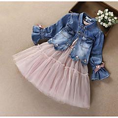 billige Tøjsæt til piger-Børn Pige Aktiv / Gade I-byen-tøj Trykt mønster / Patchwork Sløjfer / Net / Patchwork Langærmet Bomuld Tøjsæt / Broderi
