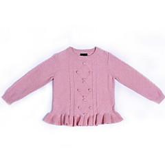 billige Sweaters og cardigans til piger-Børn Pige Basale Daglig Ensfarvet Langærmet Normal Polyester Trøje og cardigan Lyserød