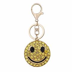 baratos Chaveiros-Rosto sorridente Chaveiro Dourado Formato Circular Zircão, Liga Decorada com Pedrarias / Strass, Fashion Para Presente / Diário
