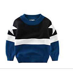 billige Sweaters og cardigans til drenge-Børn Drenge Basale Daglig Ensfarvet / Farveblok Langærmet Normal Bomuld / Polyester Trøje og cardigan Blå